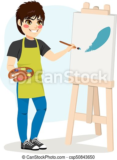 ragazzo, tela, pittura - csp50843650