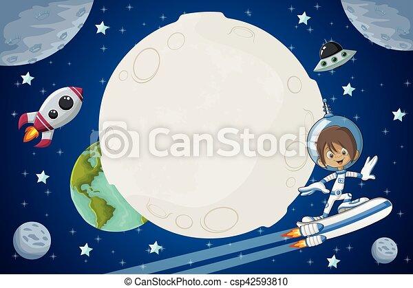 Ragazzo volare astronauta cartone animato spazio ragazzo
