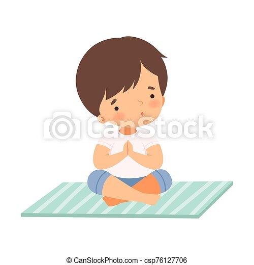 Ragazzo, yoga, posizione, capretto, attivo, illustrazione, adorabile,  carino, sano, vettore, stile di vita, seduta, loto, | CanStock