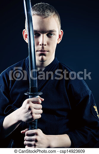 Rage Emotion Handsome Young Man Practicing Kendo Over