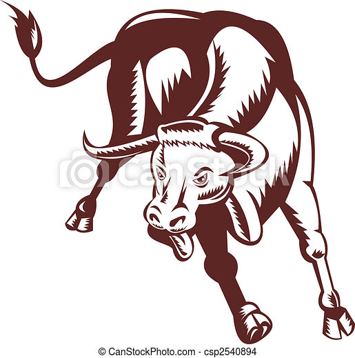 Illustration of a raging texas longhorn bull drawing for Texas tattoo license