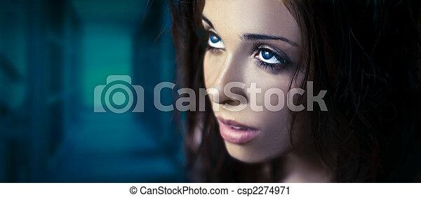ragyogás, képzelet, fiatal, szépség, portré - csp2274971