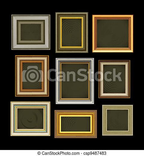 rahmen, foto, bild, vektor, weinlese - csp9487483