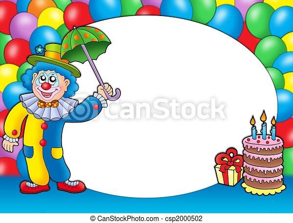 rahmen, luftballone, runder , clown - csp2000502