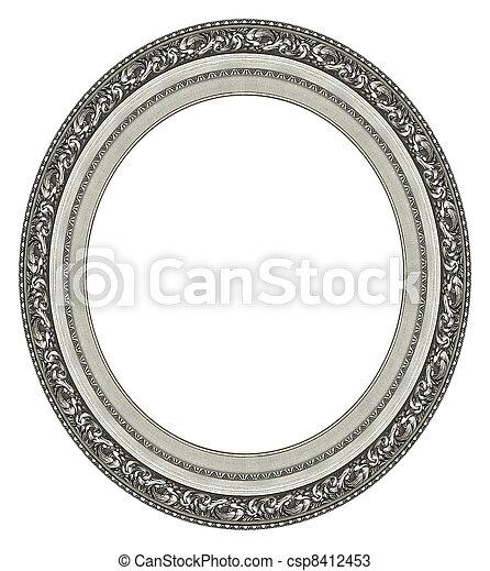 rahmen, oval, bild, silber - csp8412453
