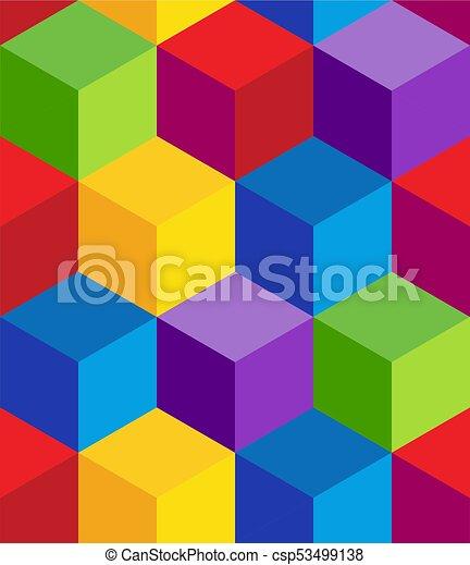 Raibow 3D Cube Pattern - csp53499138