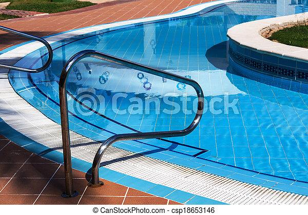 railings stairs pool - csp18653146