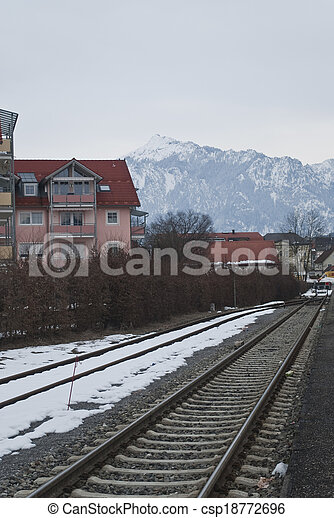 railroad in the winter, Germany - csp18772696