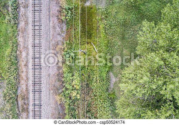 railroad tracks aerial view - csp50524174
