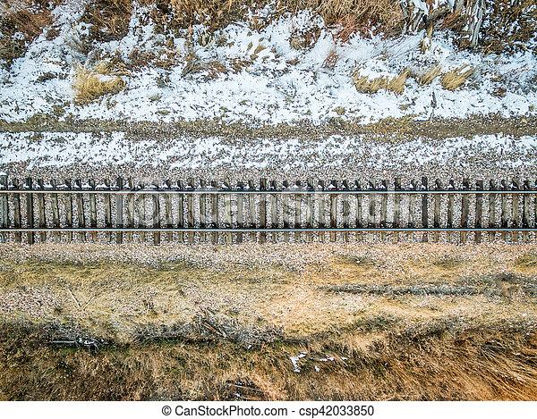 railroad tracks aerial view - csp42033850