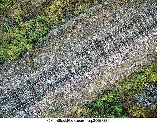 railroad tracks aerial view - csp30657329
