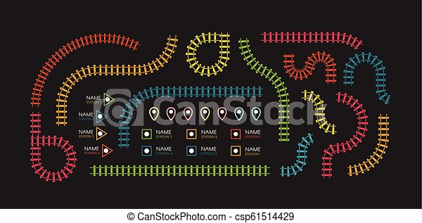 Subway Map Direction.Railroad Tracks Subway Stations Map Top View Infographic Elements Railway Simple Icon Set Rail Track Direction Train Tracks Colorful Vector