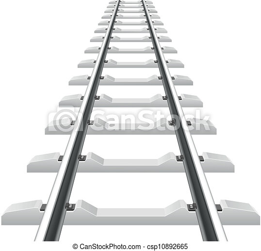 rails with concrete sleepers vector illustration isolated on white