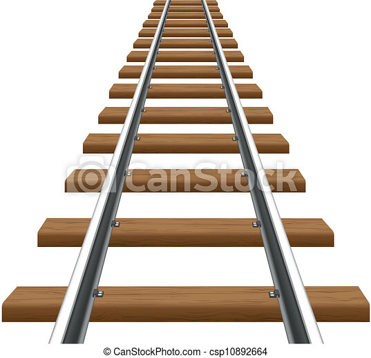 rails with wooden sleepers vector illustration isolated on white