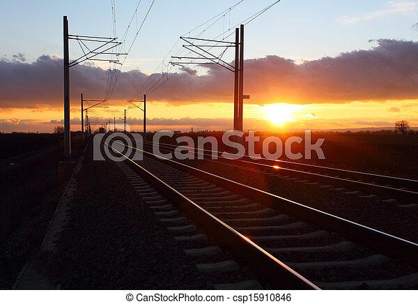 Railway at dusk - csp15910846