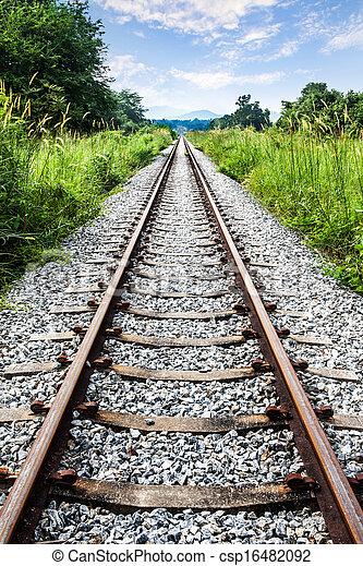 Railway, grass, mountain, sky - csp16482092