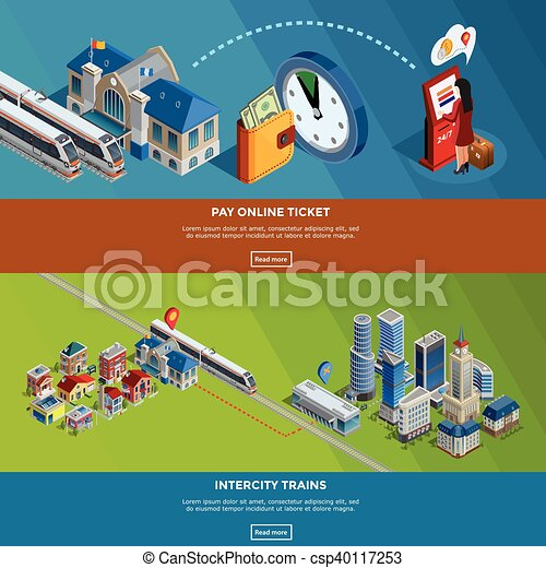 railway homepage 2 isometric banners design railway internet page