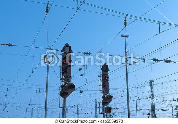 Railway Signal and Overhead Wiring - csp5559378