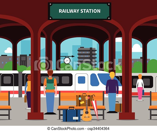 railway station illustration railway station with locomotive and rh canstockphoto com Train Station Platform train station clipart free