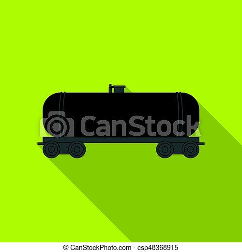 Railway tank car. Oil single icon in flat style vector symbol stock illustration web. - csp48368915