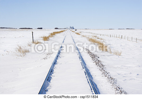 Railway tracks in snow. - csp1511834