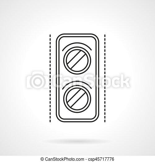 Railway traffic light flat line vector icon