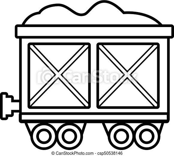 Railway wagon icon , outline style