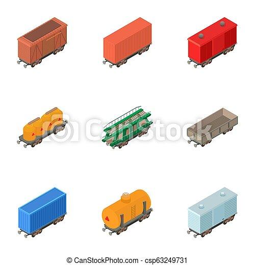 Railway wagon icons set, isometric style - csp63249731