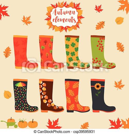 Rain boot, rubber boots. autumn elements. creative design template ...