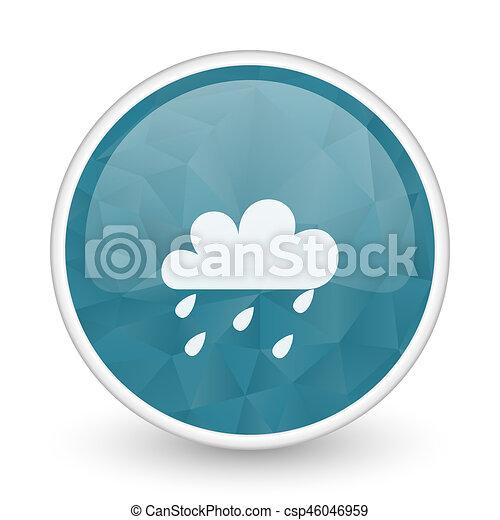 Rain brillant crystal design round blue web icon. - csp46046959