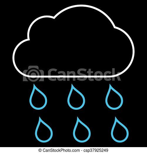 Rain Cloud Outline Vector Icon
