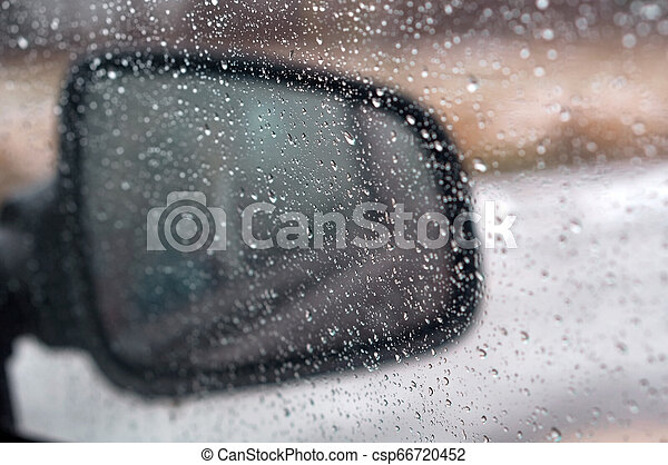 rain drops on glass, water drops on car glass - csp66720452