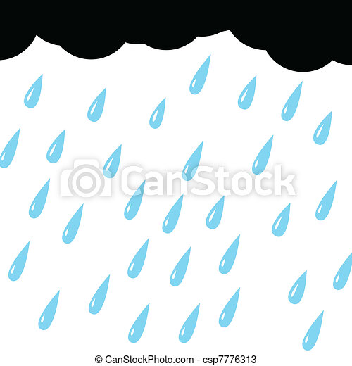 rain from cloud on white background - csp7776313
