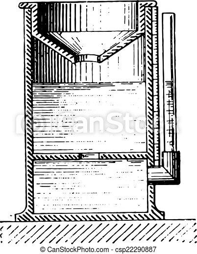 Rain gauge or Pluviometer, vintage engraving. - csp22290887