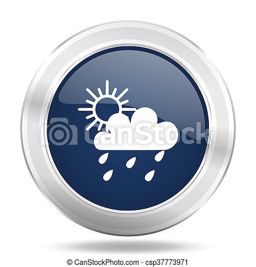 rain icon, dark blue round metallic internet button, web and mobile app illustration - csp37773971