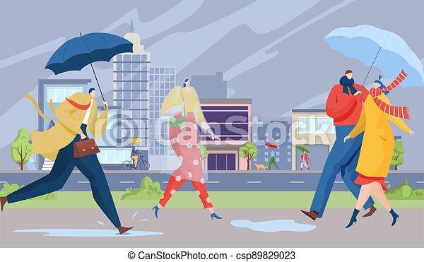 Rain in city, people walk with umbrellas, urban life concept, town street, walking outdoors, cartoon style vector illustration. - csp89829023