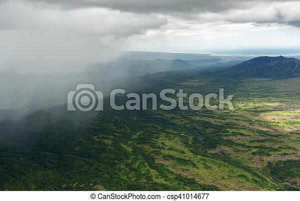 Rain in the Kronotsky Nature Reserve on Kamchatka Peninsula. - csp41014677