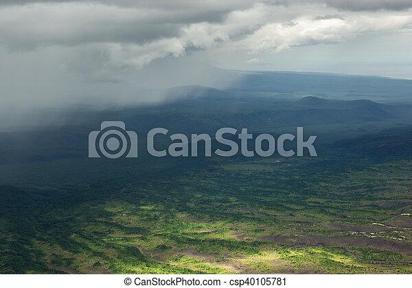 Rain in the Kronotsky Nature Reserve on Kamchatka Peninsula. - csp40105781
