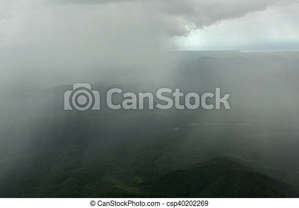Rain in the Kronotsky Nature Reserve on Kamchatka Peninsula. - csp40202269