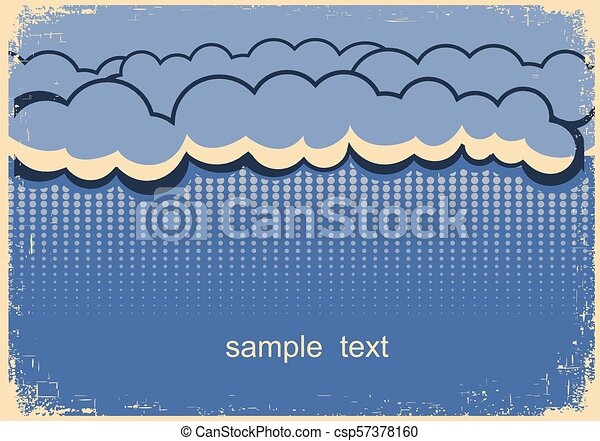 Rain poster with dark raining clouds for text - csp57378160