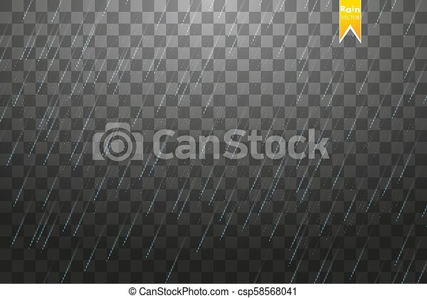 Rain transparent template background. Falling water drops texture. Nature rainfall on checkered background. - csp58568041