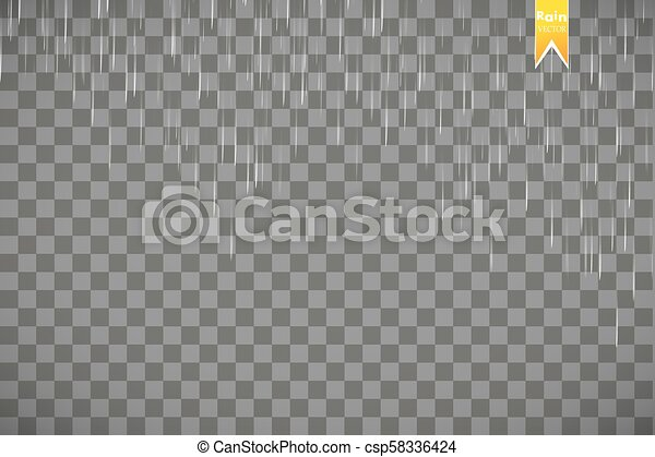 Rain transparent template background. Falling water drops texture. Nature rainfall on checkered background. - csp58336424