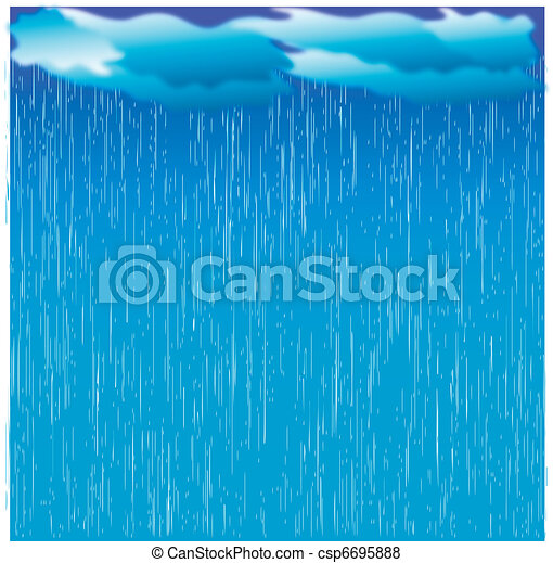 Rain. Vector image with dark clouds in wet day - csp6695888