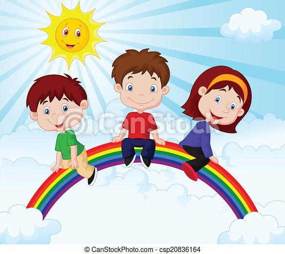 Niños felices sentados en Rainb - csp20836164