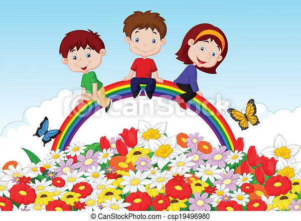 Niños felices sentados en Rainb - csp19496980