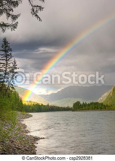 rainbow above river - csp2928381