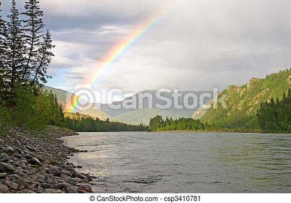 rainbow above river - csp3410781