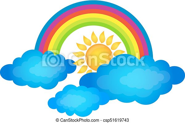 rainbow above the clouds and the sun rainbow over the eps vector rh canstockphoto com sun and clouds clipart black and white