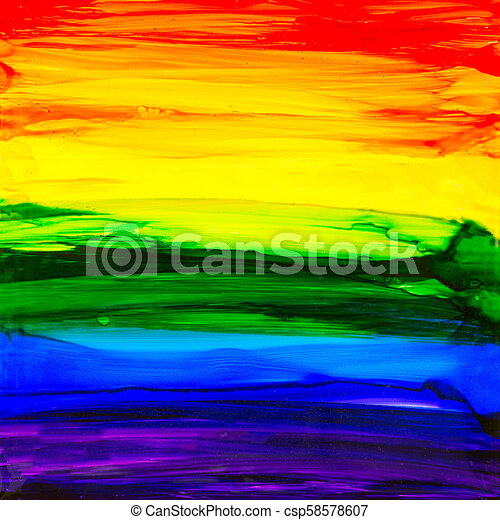 Rainbow Alcohol Ink Painting - csp58578607