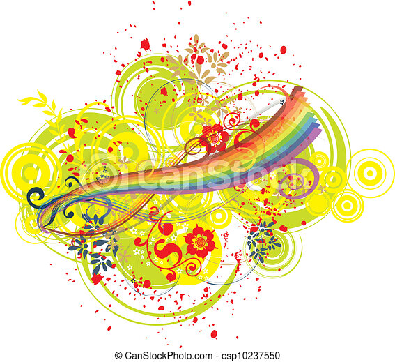 Rainbow and artistic background - csp10237550